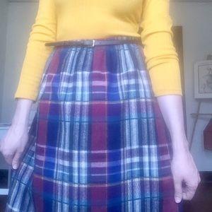 Vintage Plaid Wool Midi Skirt